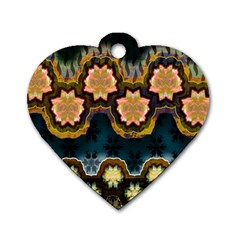 Ornate Floral Textile Dog Tag Heart (One Side)