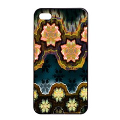 Ornate Floral Textile Apple iPhone 4/4s Seamless Case (Black)