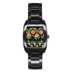 Ornate Floral Textile Stainless Steel Barrel Watch