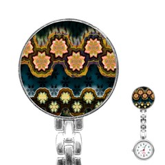 Ornate Floral Textile Stainless Steel Nurses Watch