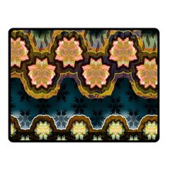 Ornate Floral Textile Double Sided Fleece Blanket (Small)