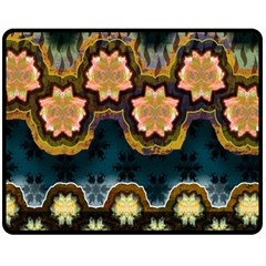 Ornate Floral Textile Double Sided Fleece Blanket (Medium)