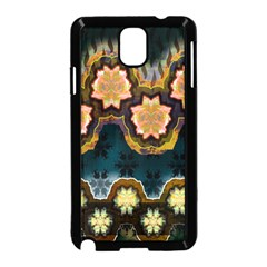 Ornate Floral Textile Samsung Galaxy Note 3 Neo Hardshell Case (Black)