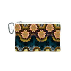 Ornate Floral Textile Canvas Cosmetic Bag (S)