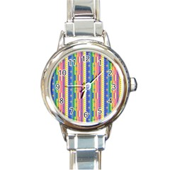 Psychedelic Carpet Round Italian Charm Watch