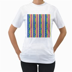 Psychedelic Carpet Women s T-Shirt (White) (Two Sided)