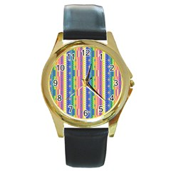 Psychedelic Carpet Round Gold Metal Watch