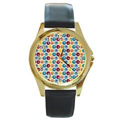 Star Ball Round Gold Metal Watch