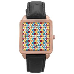 Star Ball Rose Gold Leather Watch