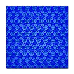Neon Circles Vector Seamles Blue Tile Coasters