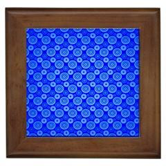 Neon Circles Vector Seamles Blue Framed Tiles