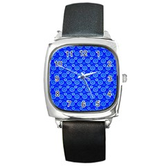Neon Circles Vector Seamles Blue Square Metal Watch