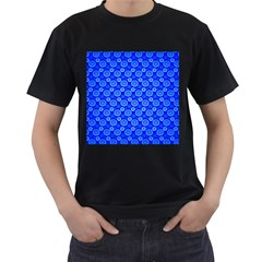 Neon Circles Vector Seamles Blue Men s T-Shirt (Black) (Two Sided)