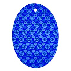 Neon Circles Vector Seamles Blue Oval Ornament (Two Sides)