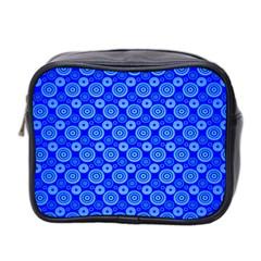 Neon Circles Vector Seamles Blue Mini Toiletries Bag 2-Side