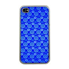 Neon Circles Vector Seamles Blue Apple iPhone 4 Case (Clear)