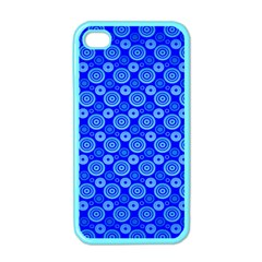 Neon Circles Vector Seamles Blue Apple Iphone 4 Case (color)