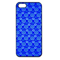 Neon Circles Vector Seamles Blue Apple iPhone 5 Seamless Case (Black)