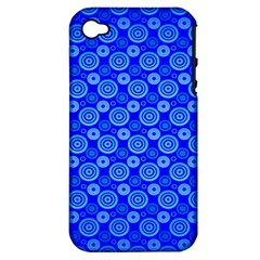 Neon Circles Vector Seamles Blue Apple Iphone 4/4s Hardshell Case (pc+silicone)