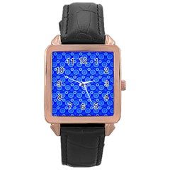 Neon Circles Vector Seamles Blue Rose Gold Leather Watch