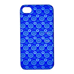 Neon Circles Vector Seamles Blue Apple iPhone 4/4S Hardshell Case with Stand