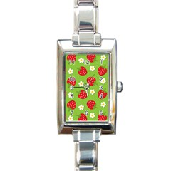Strawberries Flower Floral Red Green Rectangle Italian Charm Watch