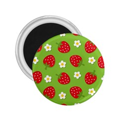 Strawberries Flower Floral Red Green 2.25  Magnets