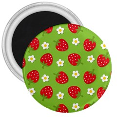 Strawberries Flower Floral Red Green 3  Magnets