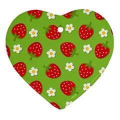 Strawberries Flower Floral Red Green Ornament (Heart)