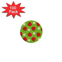Strawberries Flower Floral Red Green 1  Mini Buttons (100 pack)