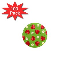 Strawberries Flower Floral Red Green 1  Mini Magnets (100 pack)
