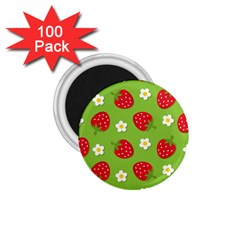 Strawberries Flower Floral Red Green 1 75  Magnets (100 Pack)