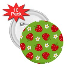 Strawberries Flower Floral Red Green 2.25  Buttons (10 pack)