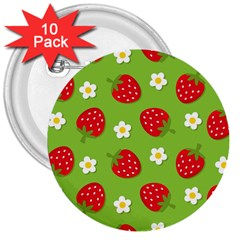 Strawberries Flower Floral Red Green 3  Buttons (10 pack)