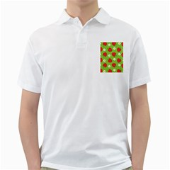 Strawberries Flower Floral Red Green Golf Shirts