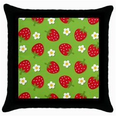 Strawberries Flower Floral Red Green Throw Pillow Case (Black)