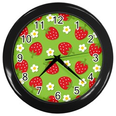 Strawberries Flower Floral Red Green Wall Clocks (Black)