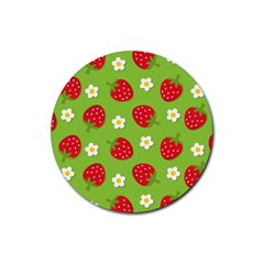 Strawberries Flower Floral Red Green Rubber Coaster (Round)