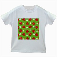 Strawberries Flower Floral Red Green Kids White T-Shirts