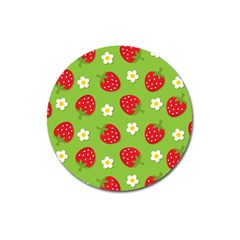 Strawberries Flower Floral Red Green Magnet 3  (Round)