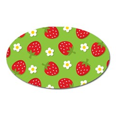 Strawberries Flower Floral Red Green Oval Magnet