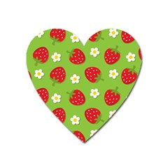 Strawberries Flower Floral Red Green Heart Magnet