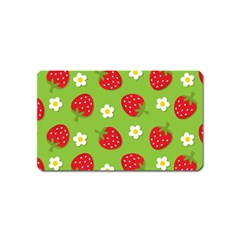 Strawberries Flower Floral Red Green Magnet (Name Card)