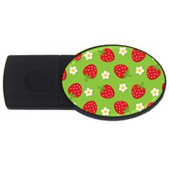 Strawberries Flower Floral Red Green USB Flash Drive Oval (2 GB)