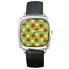 Strawberries Flower Floral Red Green Square Metal Watch
