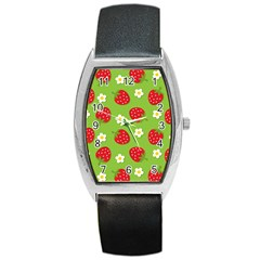Strawberries Flower Floral Red Green Barrel Style Metal Watch