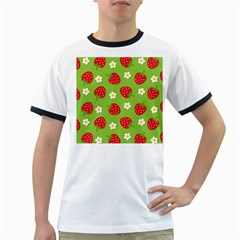 Strawberries Flower Floral Red Green Ringer T-Shirts
