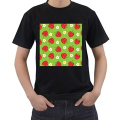 Strawberries Flower Floral Red Green Men s T-Shirt (Black) (Two Sided)