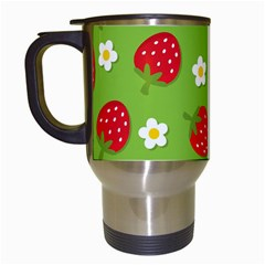 Strawberries Flower Floral Red Green Travel Mugs (White)