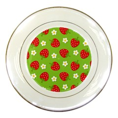 Strawberries Flower Floral Red Green Porcelain Plates